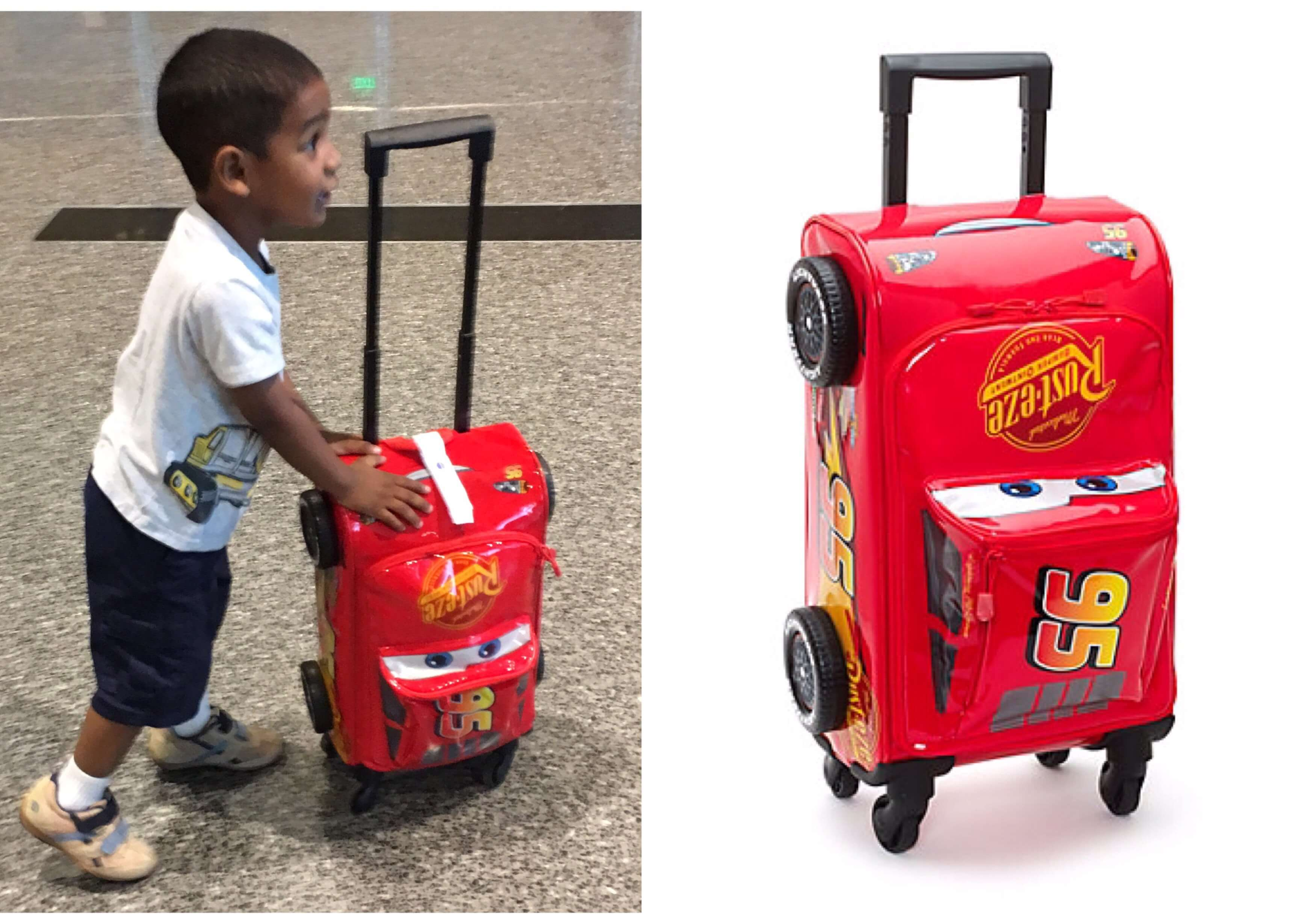 Lightning McQueen Rolling Luggage Review - Wellington World Travels #kidsluggage #travelwithkids